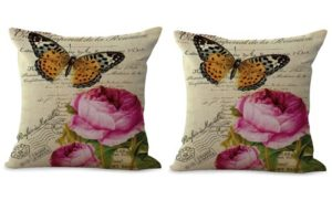 set of 2 vintage rose butterfly cushion cover