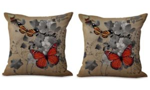 set of 2 retro buttterfly flower cushion cover