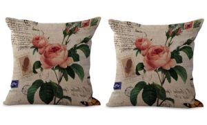 set of 2 rose flower vintage cushion cover