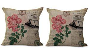 set of 2 rose vintage floral cushion cover