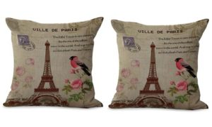 set of 2 Eiffel Tower bird flower retro cushion cover
