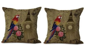 set of 2 bird flower clock tower vintage cushion cover
