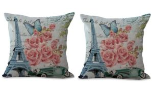 set of 2 Eiffel Tower rose butterfly retro cushion cover