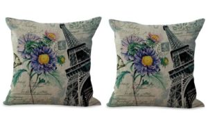 set of 2 Eiffel Tower floral retro cushion cover