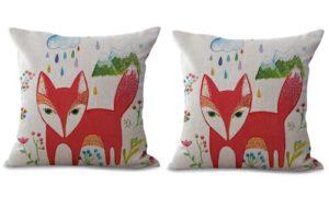 set of 2 cartoon fox animal cushion cover