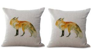 set of 2 fox animal cushion cover
