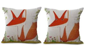 set of 2 cartoon fox animal cushion cover