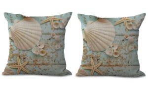 set of 2 coastal beach scallop starfish cushion cover