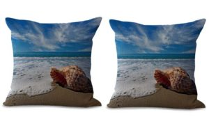 set of 2 beach seaside scenery cushion cover