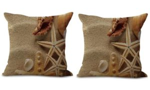 set of 2 scenery beach sand starfish shell cushion cover