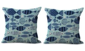 set of 2 ocean sailor fishes cushion cover