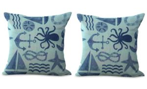set of 2 anchor boat ocean cushion cover