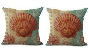 set of 2 scallop seashell nautical cushion cover