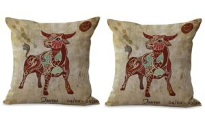 set of 2 Taurus Zodiac cushion cover