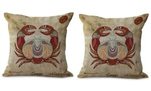 set of 2 Cancer Zodiac Symbol cushion cover