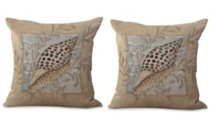set of 2 seashell nautical cushion cover