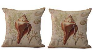 set of 2 beach seashell cushion cover