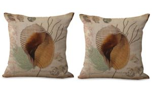 set of 2 beach seashell cushion cover