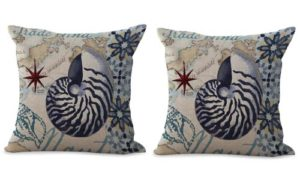 set of 2 seashell nautical cushion cover