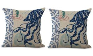 set of 2 jellyfish marine ocean cushion cover