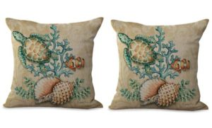 set of 2 turtle shell cushion cover