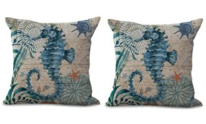 set of 2 seahorse marine life cushion cover