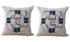 set of 2 lifebuoy beachseaside cushion cover