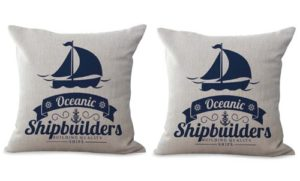 set of 2 shipbuilders boat beach cushion cover