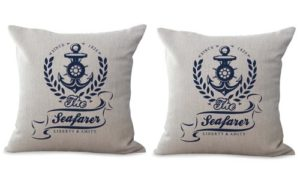 set of 2 beach coastal sailor cushion cover
