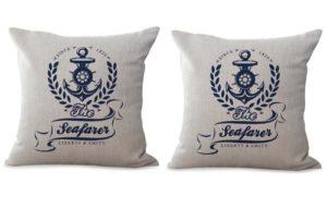 set of 2 beach coastal sailor cushion cover