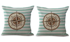 set of 2 compass travel beach cushion cover