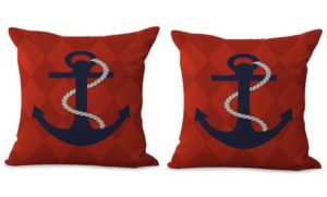 set of 2 ocean nautical anchor cushion cover