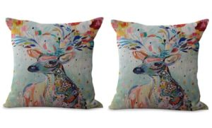 set of 2 animal deer cushion cover