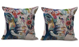 set of 2 animal elephant cushion cover