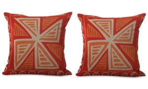set of 2 orange red geometric cushion cover