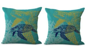 set of 2 ocean beach turtle cushion cover