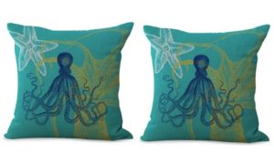 set of 2 Sea animals starfish octopus cushion cover