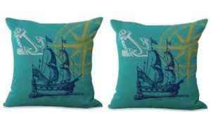 set of 2 sailing boat compass anchor cushion cover