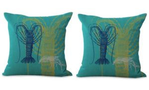 set of 2 marine life lobster cushion cover