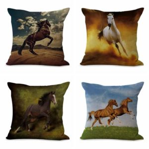 Set of 4 cushion covers equine horse equestrian We will randomly choose various designs shown on the pictures. Pillow case only, insert is not included.