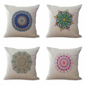 Set of 4 cushion covers bohemian mandala We will randomly choose various designs shown on the pictures. Pillow case only, insert is not included.