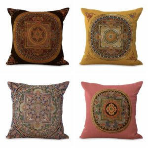 Set of 4 cushion covers unity harmony mandala We will randomly choose various designs shown on the pictures. Pillow case only, insert is not included.