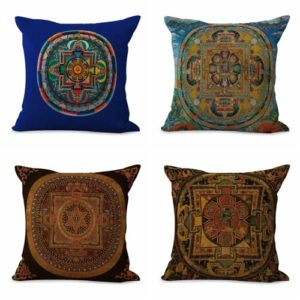 Set of 4 cushion covers traditional Tibetan mandala We will randomly choose various designs shown on the pictures. Pillow case only, insert is not included.