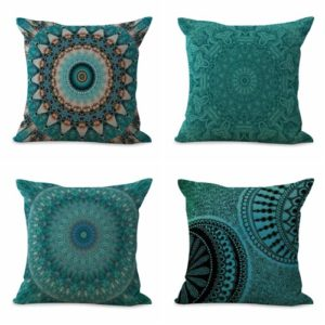 Set of 4 cushion covers traditional Tibetan mandala We will randomly choose various designs shown on the pictures.Pillow case only, insert is not included.