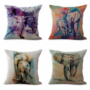 Set of 4 cushion covers lucky Indian elephant We will randomly choose various designs shown on the pictures. Pillow case only, insert is not included.