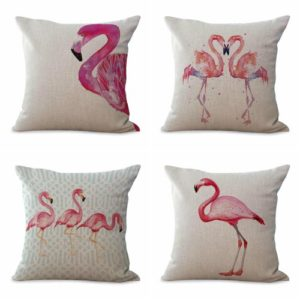 Set of 4 cushion covers flamingo bird animal We will randomly choose various designs shown on the pictures.Pillow case only, insert is not included.