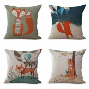 Set of 4 cushion covers cartoon fox animal We will randomly choose various designs shown on the pictures. Pillow case only, insert is not included.