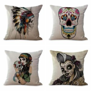 Set of 4 cushion covers sugar skull Day of the Dead We will randomly choose various designs shown on the pictures. Pillow case only, insert is not included.