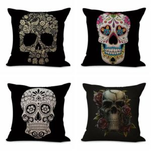 Set of 4 cushion covers Dia de Los Muertos sugar skull death We will randomly choose various designs shown on the pictures. Pillow case only, insert is not included.