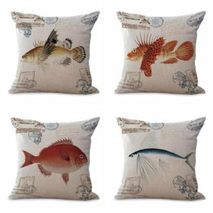 Set of 4 cushion covers vintage ancient marine sea life fish We will randomly choose various designs shown on the pictures. Pillow case only, insert is not included.